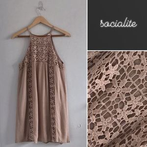 Socialite Taupe Crepe and Lace Summer Dress